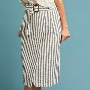 Anthropologie Belted Stripe Pencil Skirt Size 6